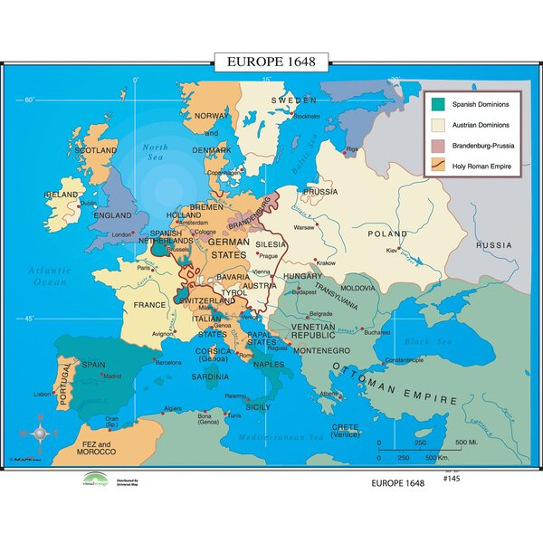 World History Wall Maps - Europe 1648 by Universal Map