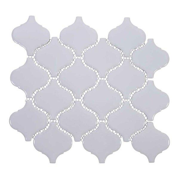 Arabesque 3 x 3 Porcelain Mosaic Tile in Light Gra