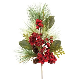 Silk christmas flowers wayfair natural silk christmas spray with faux berries pinecones and flowers mightylinksfo