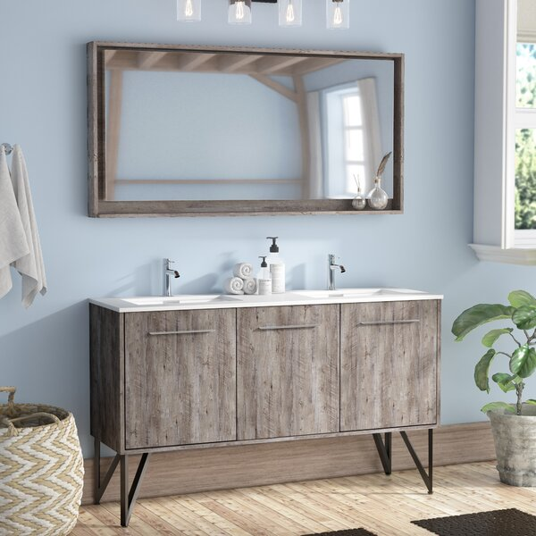 Ellison Nature Wood 59 Double Bathroom Vanity Set with Mirror by Union Rustic