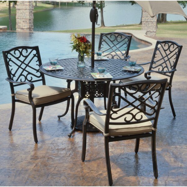 Reagan 5 Piece Dining Set with Cushions by Alcott Hill