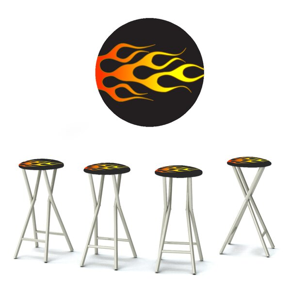 Racing Flames 30'' Patio Bar Stool with Cushion (Set of 4) by Best of Times
