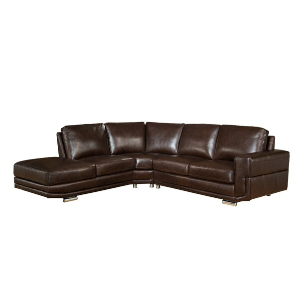 Haverville Right Hand Facing Leather Sectional By Orren Ellis