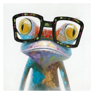 'Smart Frog' Painting Print on Wrapped Canvas by Latitude Run