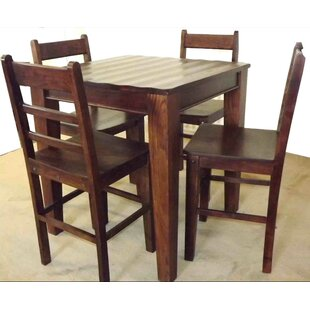 Wave 5 Piece Solid Wood Dining Set By Aishni Home Furnishings