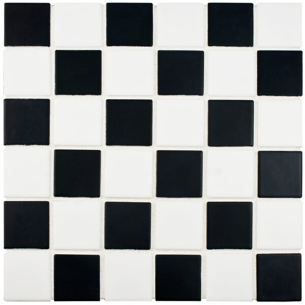 Arthur 2 x 2 Porcelain Mosaic Tile in Black/White by EliteTile