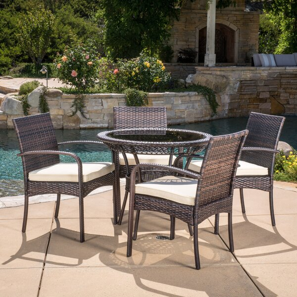 Emmeline 5 Piece Dining Set with Cushions by Highland Dunes