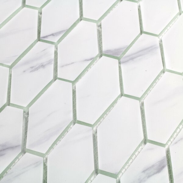 Musico Carrara 2 x 2 Glass Mosaic Tile in White by Abolos