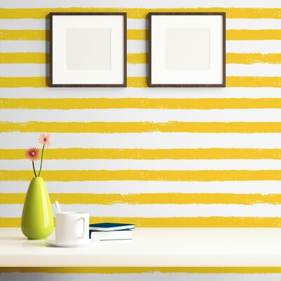 """Razo Striped Removable Peel and Stick Wallpaper Panel Highland Dunes Size: 24"""" W x 48"""" L"""