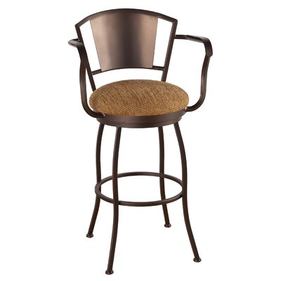 "Leia Swivel Bar & Counter Stool Alcott Hill Upholstery: Radiance Pewter, Color: Pebblestone, Seat Height: Bar Stool (30"" Seat Height)"