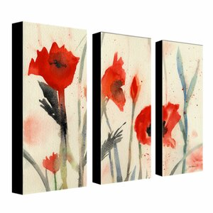 Poppies by Sheila Golden 3 Piece Painting Print on Canvas Set by Trademark Fine Art
