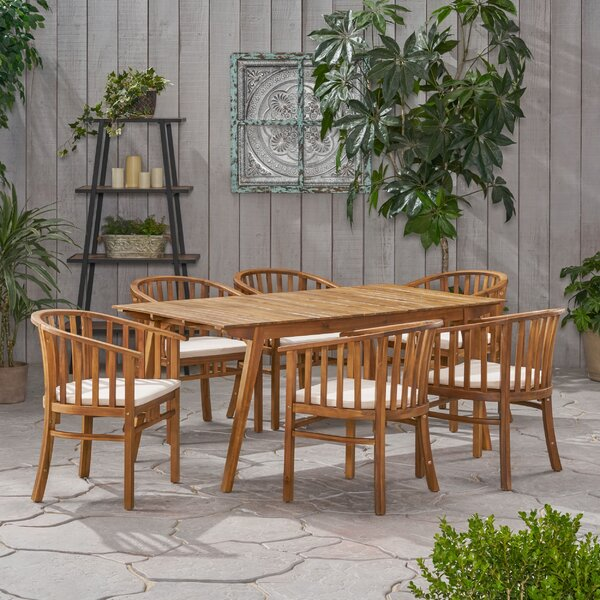 Reichert Outdoor 7 Piece Dining Set with Cushions