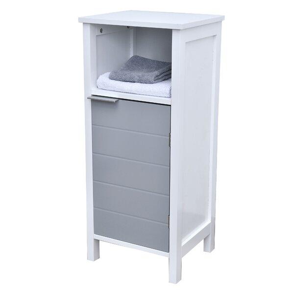 Freestanding Bathroom Floor 1 Door with Shelves 14 W x 31.8 H Linen Tower by Evideco