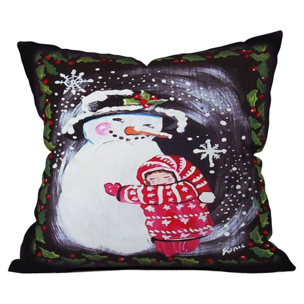 Snowman Hugs Girl Outdoor Throw Pillow by Deny Designs