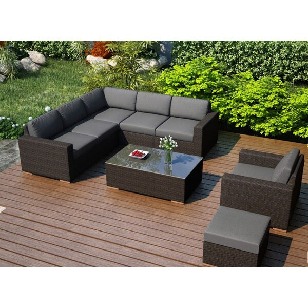 Hodge 8 Piece Sunbrella Sectional Set with Cushions by Rosecliff Heights