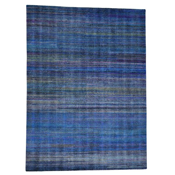 Grass and Oidized Hand-Knotted Navy Blue Area Rug by Bungalow Rose