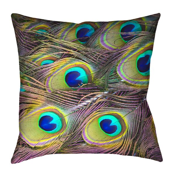 Helsel Peacock Feathers Outdoor Throw Pillow