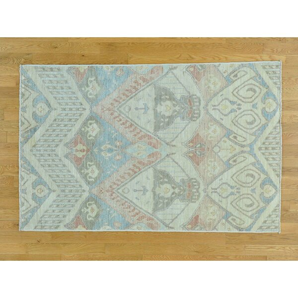 One-of-a-Kind Citrana Ikat Uzbek Design Hand-Knotted Wool Area Rug by Isabelline