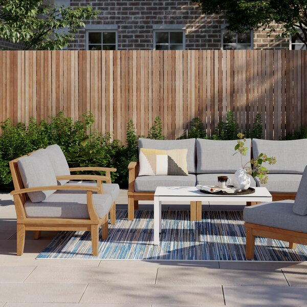 Anthony Outdoor Patio 8 Piece Teak Sectional Seating Group with Cushion by Foundstone Foundstone