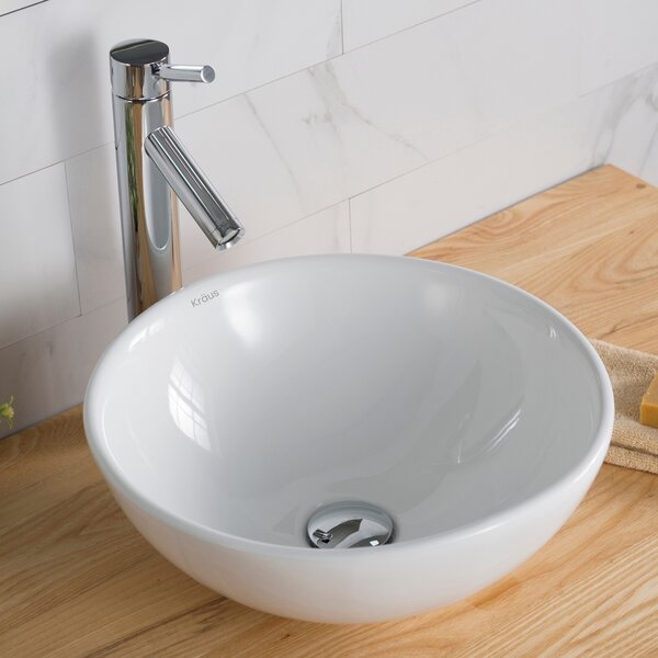 Ceramic Circular Vessel Bathroom Sink with Faucet