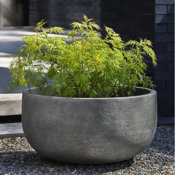 Barbour Low Cast Stone Pot Planter by 17 Stories