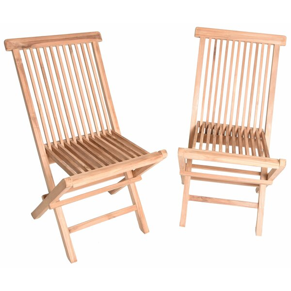Rae Folding Teak Patio Dining Chair (Set of 2) by Highland Dunes