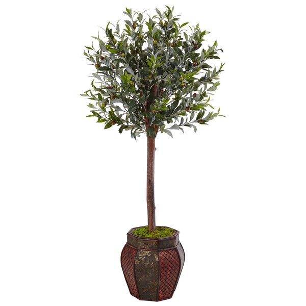 Artificial Olive Tree Topiary in Planter by Bloomsbury Market