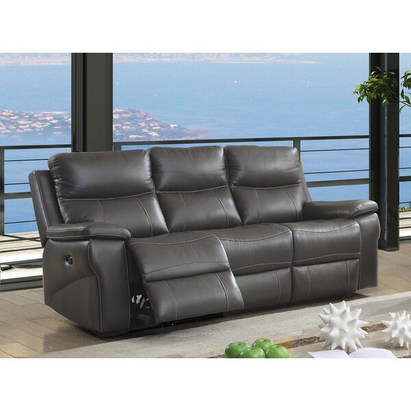 Faulks Leather Reclining Sofa By Red Barrel Studio Comparison