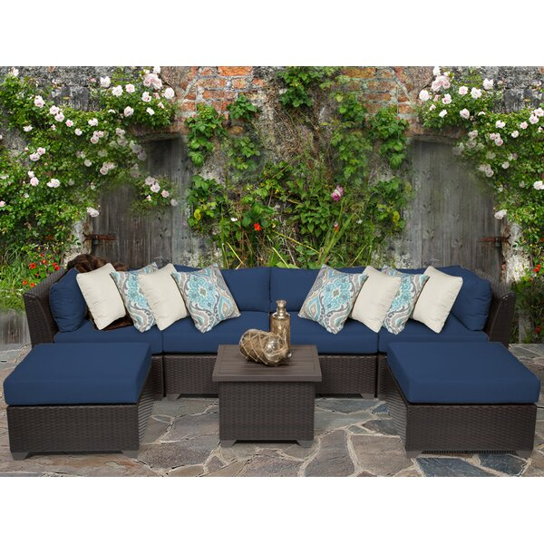 Medley 7 Piece Rattan Sectional Seating Group with Cushions by Rosecliff Heights