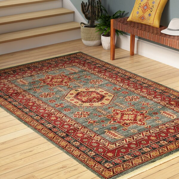 Valley Red/Light Blue Area Rug by World Menagerie