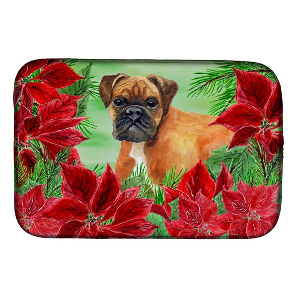 German Boxer Poinsettas Dish Drying Mat by Caroline's Treasures