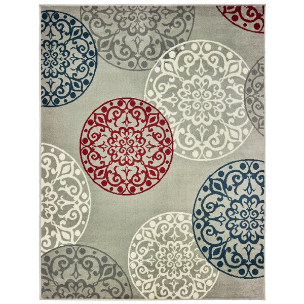 Soucy Medallion Gray/Blue Area Rug by Winston Porter