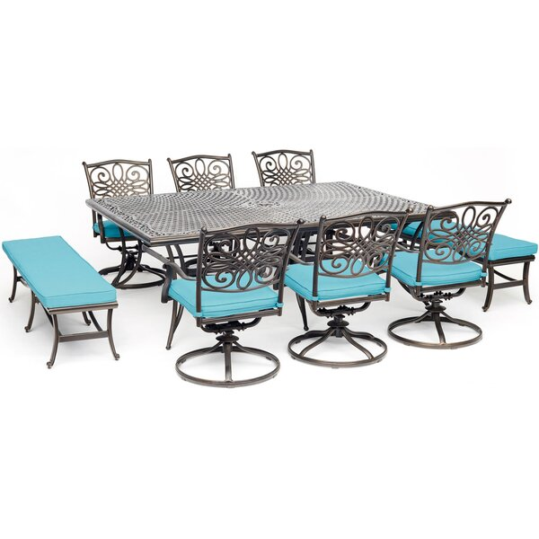 Zampa 9 Piece Dining Set with Cushion by Charlton Home