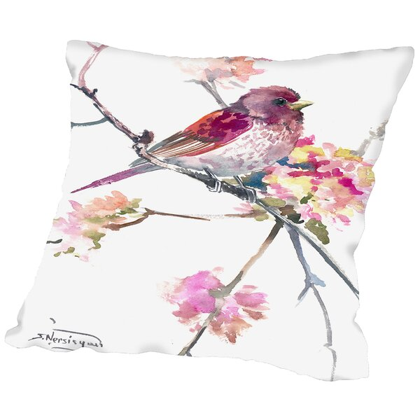 Conesville Rosefinch Throw Pillow by Ophelia & Co.