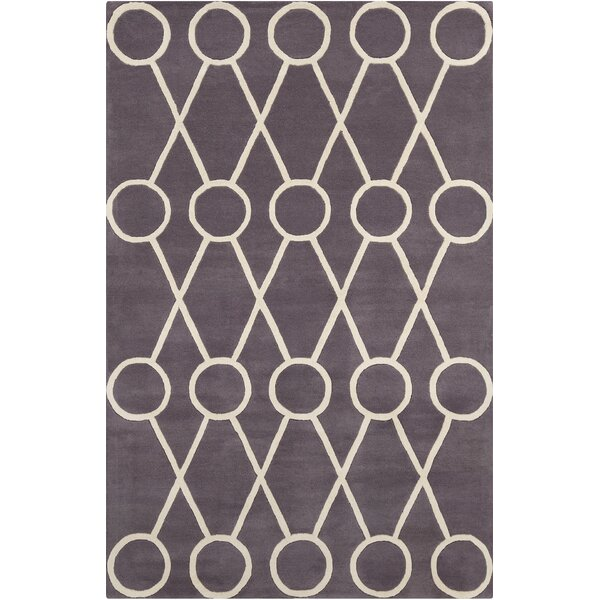 Burns Patterned Contemporary Wool Dark Gray/Cream Area Rug by Wrought Studio