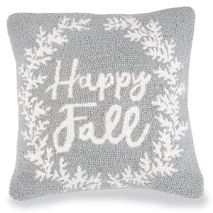 Happy Fall Hooked Accent Throw Pillow
