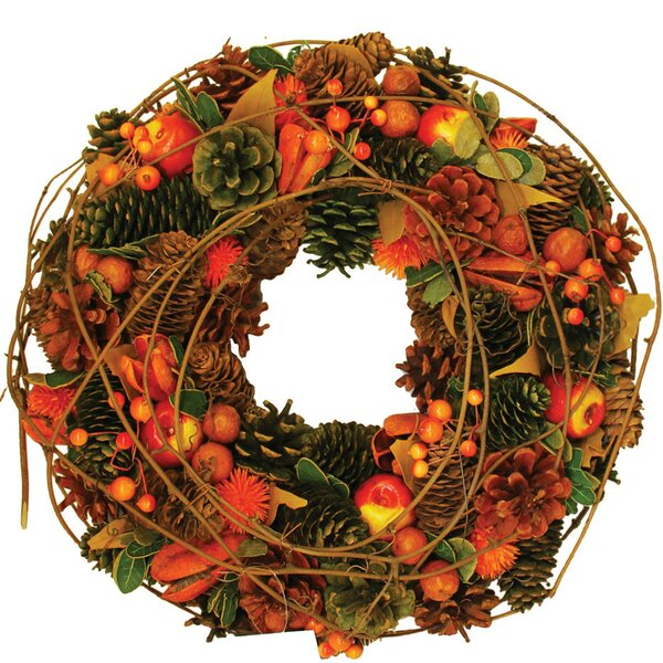 Autumn Harvest Apples, Berries and Pinecones Wreath by Northlight Seasonal