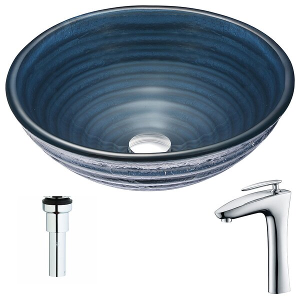 Tempo Glass Circular Vessel Bathroom Sink with Faucet