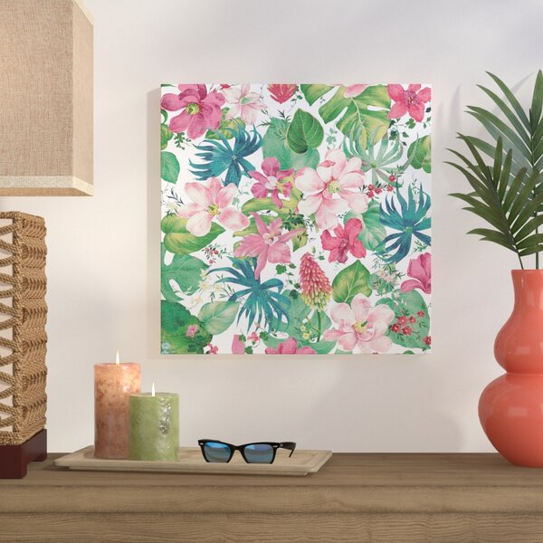 Tropical Dream Bright on White Graphic Art on Wrapped Canvas by Bay Isle Home