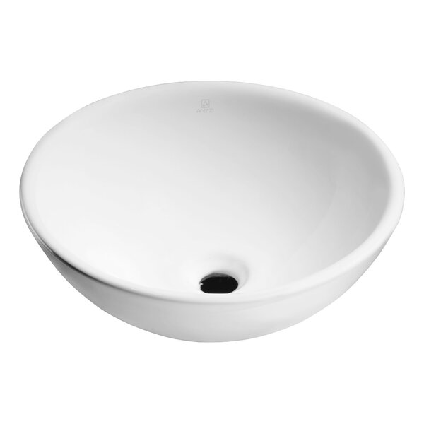 Deux Series Vitreous China Circular Vessel Bathroom Sink by ANZZI