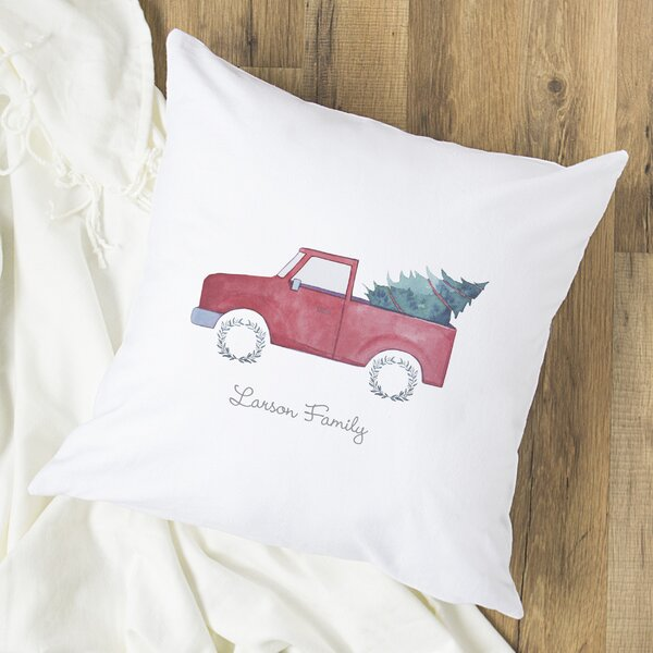 Personalized Christmas Tree Truck Throw Pillow by Cathys Concepts