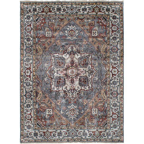 One-of-a-Kind Beverly Hand-Knotted Wool Dark Blue Area Rug by Bloomsbury Market