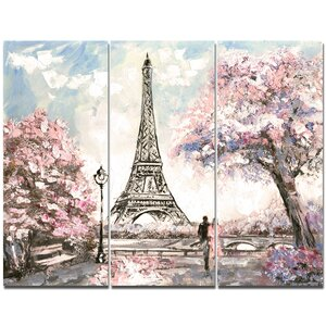 'Eiffel with Pink Flowers' Painting Print Multi-Piece Image on Canvas by Design Art