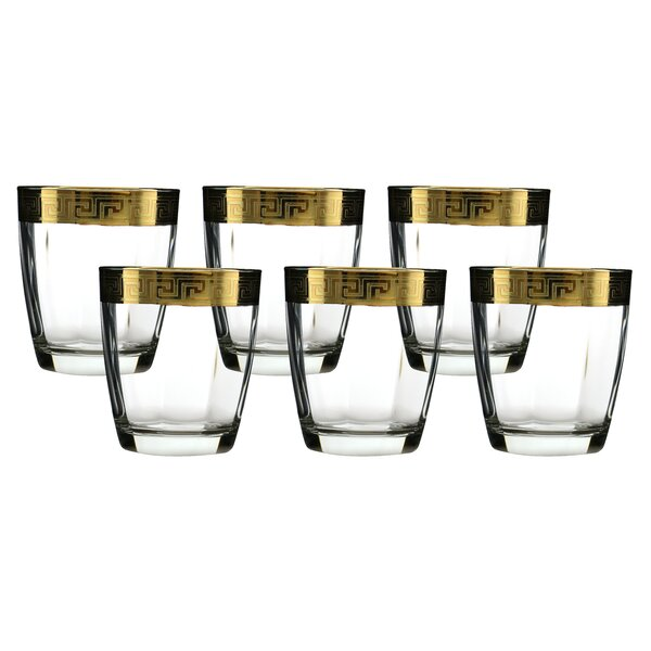 Double Old Fashion Glass with Versace Rim Decoration (Set of 6) by Three Star Im/Ex Inc.