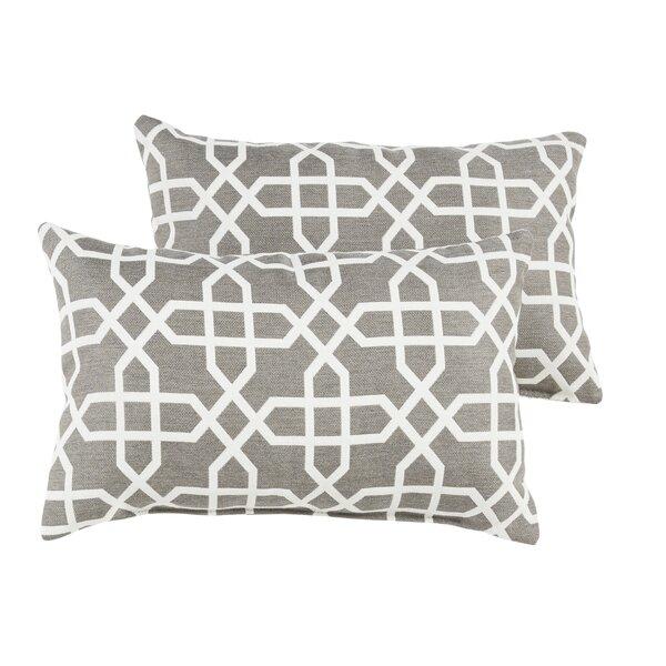 Malcom Geometric Indoor/Outdoor Sunbrella Lumbar Pillow (Set of 2) by Darby Home Co