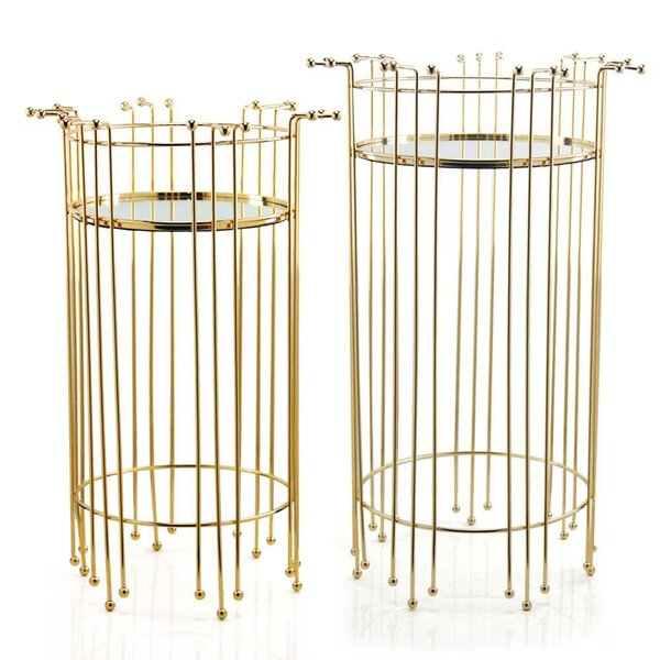 Nickles Tray Top Pedestal Nesting Tables By Everly Quinn