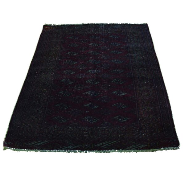 One-of-a-Kind Overdyed Vintage Turkoman Hand-Knotted Burgundy Area Rug by Bloomsbury Market