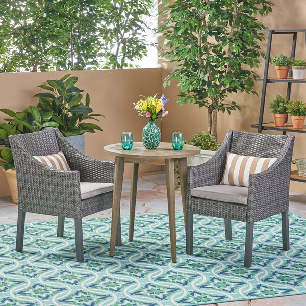 3 Piece Bistro Set with Cushions by Bungalow Rose