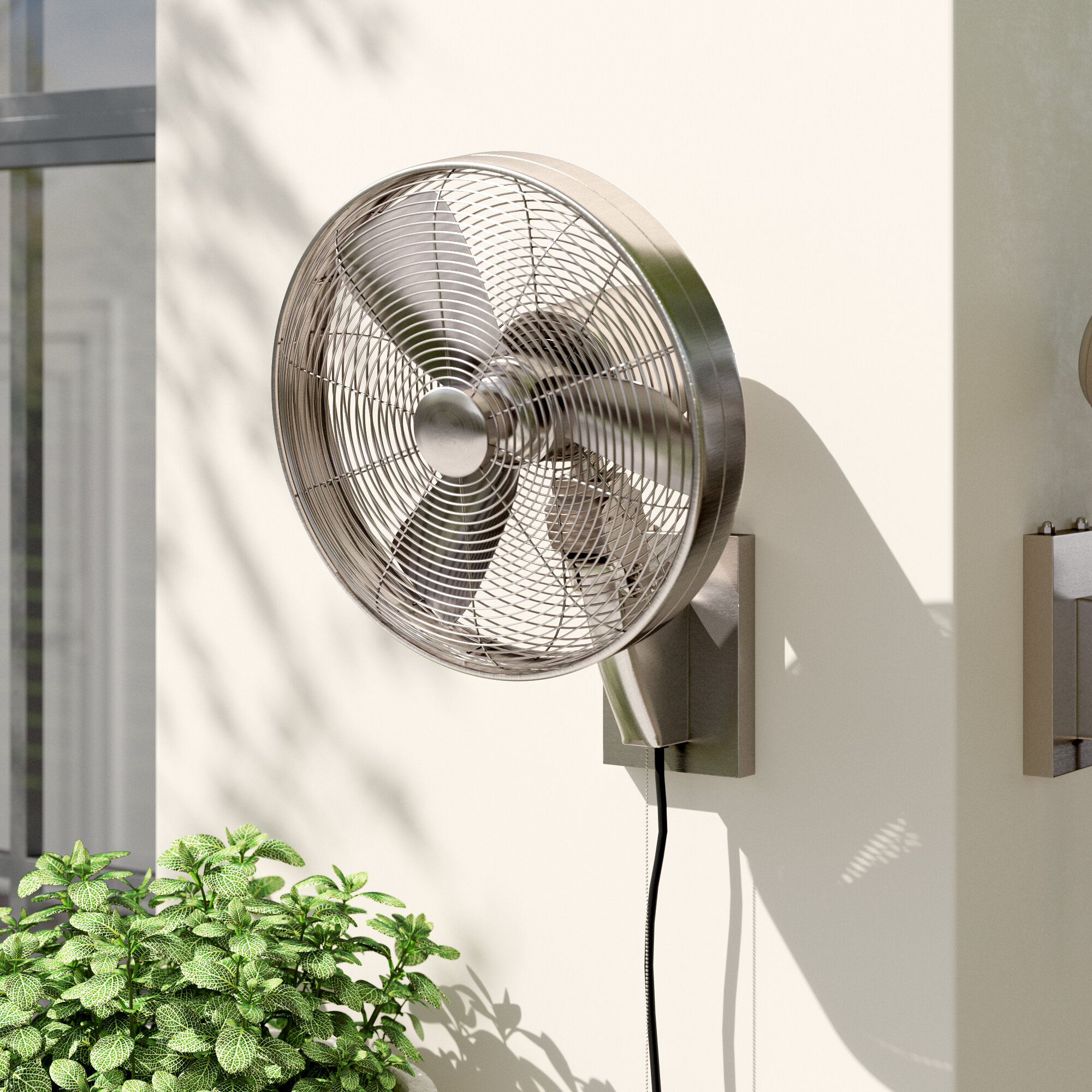 Matthews Ll Bn Laura 16 Outdoor Wall Fan With Remote Control Brushed Nickel 3 Metal Blades