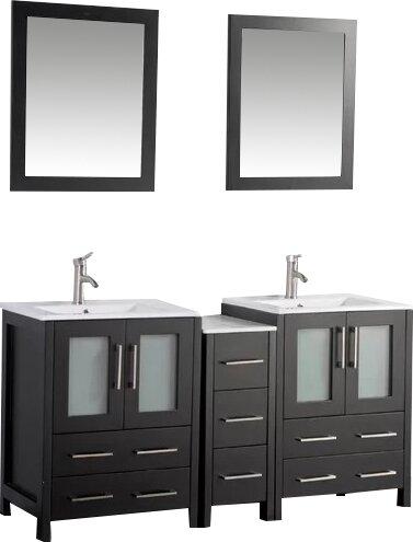 Karson 60 Double Bathroom Vanity Set with Mirror by Wade Logan